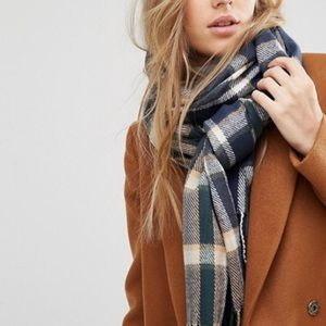 ASOS brushed check scarf in Navy Mix